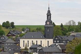 Slate - Slate-faced church and homes in Wurzbach, Thüringen, Germany