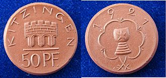 Kitzingen - Emergency Money (Notgeld) of Kitzingen after WW1