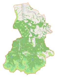 """Mapa konturowa gminy Kościelisko, po prawej znajduje się punkt z opisem """"Kościelisko"""""""