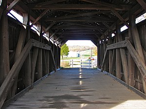 Kochendefer Covered Bridge - Interior showing the truss.
