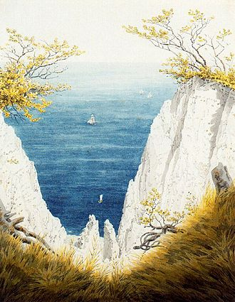 Chalk Cliffs on Rügen - A later variation on the theme; watercolor, 1824, 25 × 32 cm