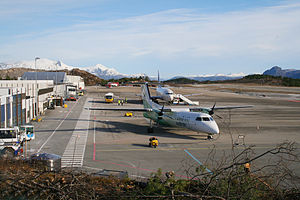 Kristiansund Airport, Kvernberget - Widerøe Bombardier Dash 8 (closest) and Scandinavian Airlines Boeing 737 at the airport