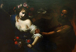 Painting showing Pesephone fleeing Hades. She is covered in flowers and bathed in light from the left-hand side of the painting. Hades emerges out of the darkness on the right-hand side of the work. Only the outlines of his body, arm, and head can be seen. He is pulling of her blouse, revealing her upper body.