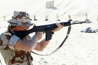 Royal Small Arms Factory -  US Marine firing the L1A1 rifle