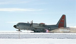 Lockheed LC-130 - An LC-130 rocket assisted takeoff from the Greenland Icecap