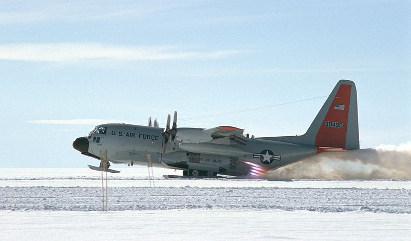 LC-130 taking off with JATO from Greenland