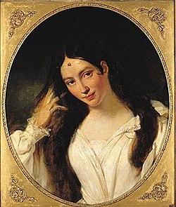 Maria Malibran jouant le rôle de Desdémone dans l'Otello de Rossini en 1834.Portrait par François Bouchot. Musée du Louvre.