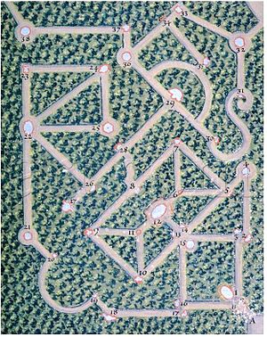 Hedge maze - The labyrinth of Versailles was a hedge maze in the Gardens of Versailles, a royal château in France. Pictured is Labyrinte de Versailles by Charles Perrault with engravings by Leclerc and coloured by Jacques Bailly, circa the late 17th century
