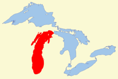 Lake Michigan - Map of Lake Michigan and the other Great Lakes