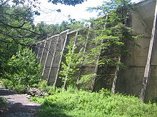 Photo of a concrete wall with buttresses that passes through a wooded area with a trail to the left. Low lying vegetation is at the base of the wall.