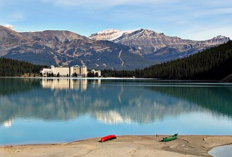 Chateau Lake Louise - The hotel from the opposite shore of the lake.
