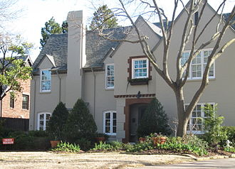 """Lakewood, Dallas - Lakewood Boulevard includes many 1920s and 1930s mansions and estates. Most are in the Tudor styles by Dines and Kraft or Mediterranean-Hollywood styles by Clifford Hutsell. This is the former home of the """"Mayor of Lakewood"""" Jim Young and """"First Lady"""" Barbara Young."""