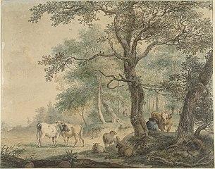 Landschap met twee herders met vee