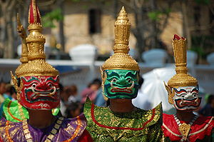 Dance and theatre of Laos - Masked dancers about to perform a khon dance-drama based on the Phra Lak Phra Ram.