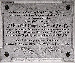 Albrecht von Bernstorff - Memorial for Albrecht von Bernstorff in the St. Abundus church in Lassahn