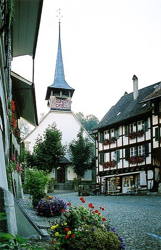 Laupen - Church and old town of Laupen