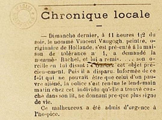 Le Forum Républicain (Arles) - 30 December 1888 - Vincent van Gogh ear incident