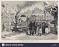 Le premier chemin de fer français en Chine, une ligne Decauville de Tientsin pour Tsching-Yang, est admiré par les autorités chinoises. Date 20 Novembre 1886.jpg