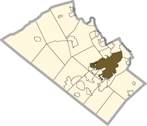 Allentown School District - Location of Allentown School District in Lehigh County, Pennsylvania