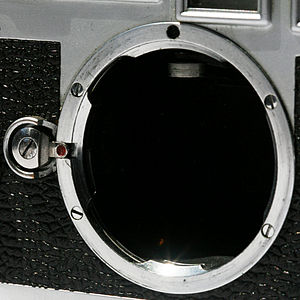 Leica M-mount - Female part (body). The mechanical sensor seen inside the top of the mount is the rangefinder coupling arm.