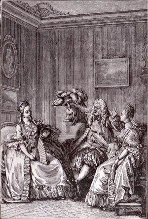 Les Précieuses ridicules - MASCARILLE : What do you think of my little goose? Do you find it goes with my outfit? CATHOS : Absolutely. (from Les Précieuses ridicules) Drawing by Moreau le Jeune.