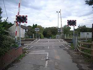 St Georges super Ely - Level crossing in the village along the Cardiff to Bridgend railway