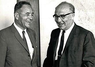 Ralph Bunche - Bunche with Prime Minister Levi Eshkol, 1966