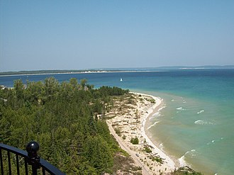 South Manitou Island Lighthouse - The view from the lighthouse catwalk looking Northeast