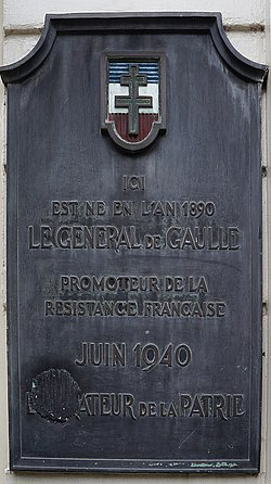 Photo of Charles De Gaulle brushed metal plaque
