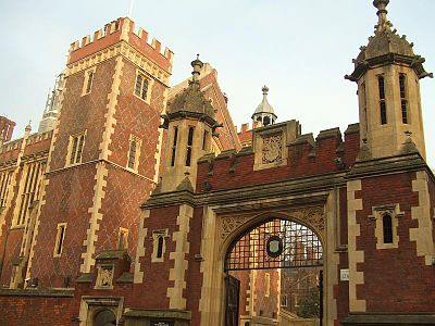 The Gate of Lincoln's Inn.  Cooper attended Lincoln's Inn, beginning in 1638, to receive an education in the laws of England.  Throughout his political career, Cooper posed as a defender of the rule of law, at various points in his career breaking with both Oliver Cromwell (1599–1658) and Charles II (1630–1685) when he perceived they were subverting the rule of law and introducing arbitrary government.