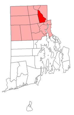 Location of Lincoln in Providence County, Rhode Island