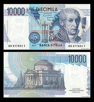 La Banconota Da 10 000 Lire Alessandro Volta Emessa Dal 1984 Al 1998 Sul Retro Compare L Immagine Del Tempio Voltiano Di Como