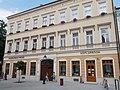Listed residential building ID 3873 Pharmacy and gallery. - 1, Országzászló Sq., Fő Street corner, Downtown, Székesfehérvár, Fejér county.JPG
