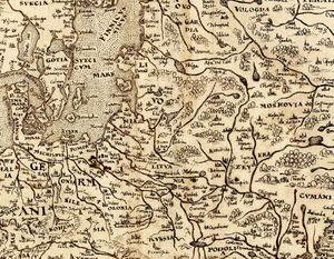 Lithuania proper - Lithuania on the 1570 map