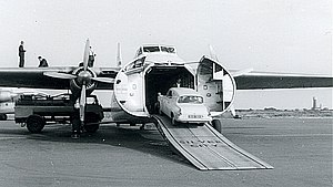 Lydd Airport - Loading a Bristol Superfreighter air ferry at Lydd in 1960