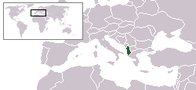 A map showing the location of Albania
