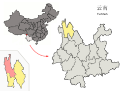 Location of Dêqên County (pink) within Diqing Prefecture (yellow) and Yunnan