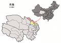 Location of Qilian within Qinghai (China).png