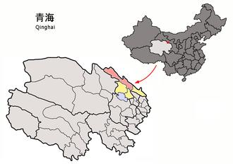 Qilian County - Image: Location of Qilian within Qinghai (China)