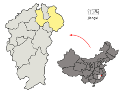Location of Shangrao City jurisdiction in Jiangxi