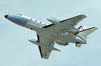 Lockheed JetStar - USAF VC-140B from below, showing its wing sweep and slipper tanks