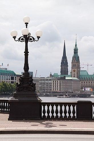 Hamburg Wallring - View of the Binnenalster from Lombardsbrücke