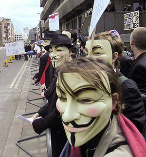 Guy Fawkes mask - Members of the group Anonymous wearing Guy Fawkes masks at a protest against the Church of Scientology in London, 2008.