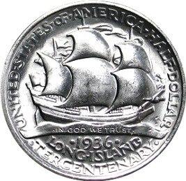 Long island tercentenary half dollar commemorative reverse