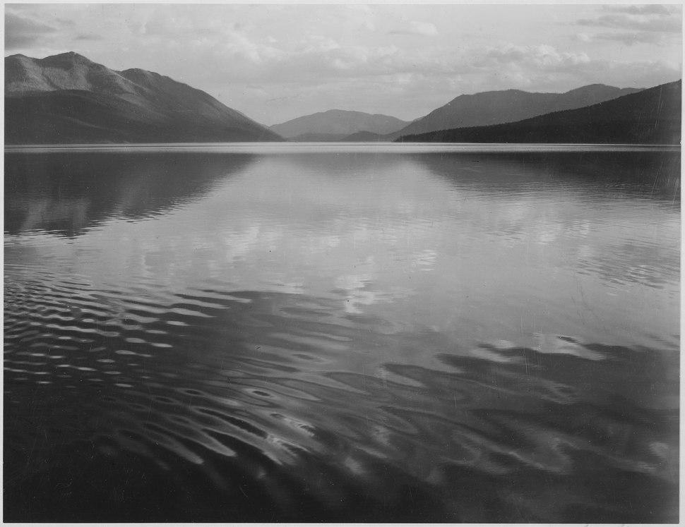 "Looking across lake, ""McDonald Lake, Glacier National Park,"" Montana., 1933 - 1942 - NARA - 519873"