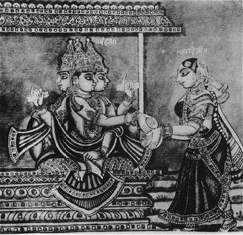 Lord Brahma and Adhiti - 19th Century Illustration