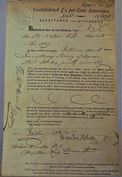 Lord Nelson's Power of Attorney, 1797 - Bank of England Museum