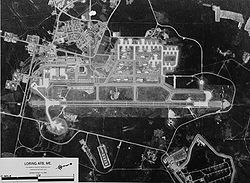 Aerial image of Loring Air Force Base, in black and white