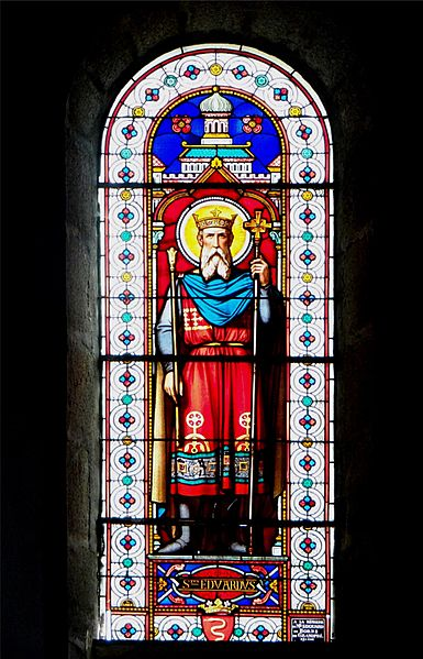 St. Alban Church, Lormes, Nièvre, France. Stained glass window depicting St. Edward.