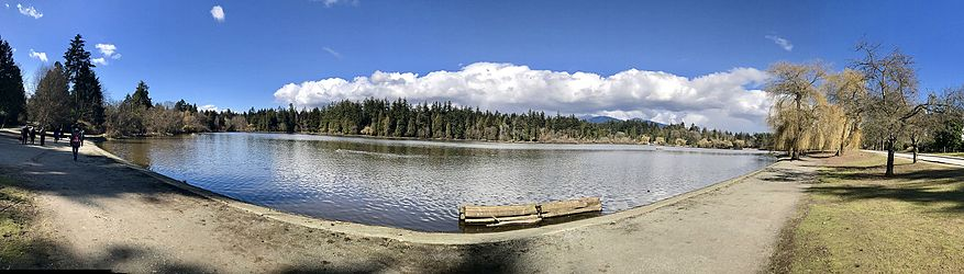 Panorama view of Lost Lagoon in 2017